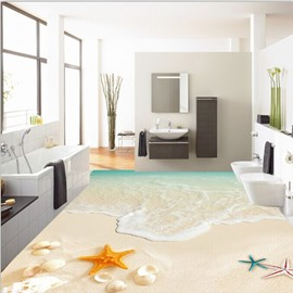 Leisurely Seashells and Starfishes Beach Scenery Decorative Waterproof 3D Floor Murals