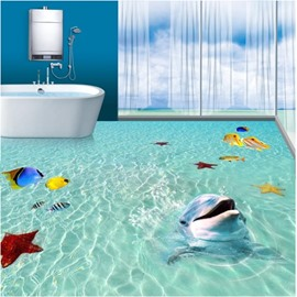 3D Green Sea Dolphins Fishes Starfishes PVC Waterproof Non-slip Eco-friendly Floor Murals