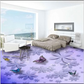 Purple Flowers and Butterflies Pattern Decorative Waterproof 3D Floor Murals