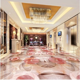 Modern Creative Design Pink Flowers Pattern Waterproof Splicing 3D Floor Murals