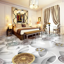 White Simple Style Flower Pattern Waterproof Home Decorative 3D Floor Murals