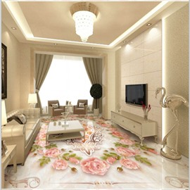 Warm Pink Flowers Pattern Home Decorative Waterproof Splicing 3D Floor Murals
