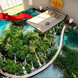 Awesome Natural Bridge over the River Pattern Home Decorative 3D Floor Murals