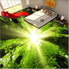 Natural Sunlight Green Forest Pattern Waterproof Splicing 3D Floor Murals