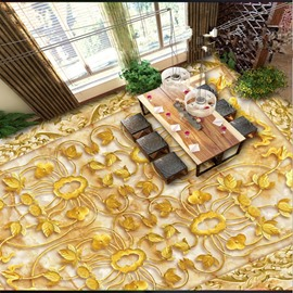Fancy Golden Flower Pattern Home Decorative Wall Paper Nonslip and Waterproof 3D Floor Murals