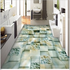 Three-dimensional Creative Square Flower Pattern Nonslip and Waterproof 3D Floor Murals
