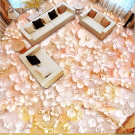 Warm Pink Flower Pattern Living Room Decoration Waterproof Splicing 3D Floor Murals