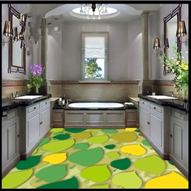 Modern Fashion Design Colorful Leaves Pattern Waterproof 3D Floor Murals