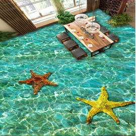Leisurely Starfishes in the Limpid Immense Sea Pattern Waterproof 3D Floor Murals