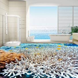 Fascinating Beautiful Corals Thicket in the Sea Pattern Waterproof 3D Floor Murals