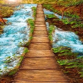 Natural Wooden Bridge over the Stream Scenery Pattern Waterproof 3D Floor Murals