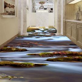 Modern Simple River Scenery Pattern Waterproof Home Decorative 3D Floor Murals