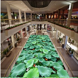 Modern Design Green Lotus Leaves and Goldfishes Pattern Waterproof 3D Floor Murals