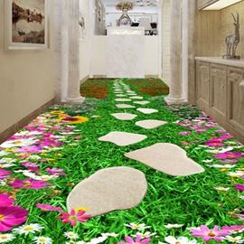 Fresh Flower Footpath Pattern Home Decorative Waterproof 3D Floor Murals