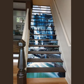 3D Waterfall in Mountain Pattern Waterproof Sturdy Eco-friendly Custom Stair Sticker