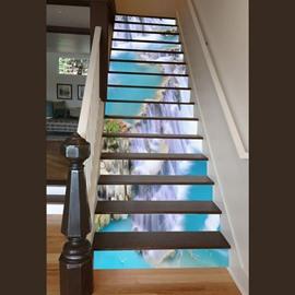 Incredible Design Waterfall Scenery Pattern Waterproof Customize 3D Stair Steps Sticker