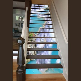 Incredible Design Waterfall Scenery Pattern Waterproof Customize 3D Stair Steps Sticker