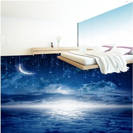 Bright and Clear Crescent and Stars in the Sky Pattern Waterproof Splicing 3D Floor Murals