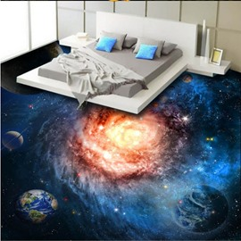 3D Planets in Galaxy PVC Waterproof Non-Slip Sturdy Self-Adhesive Floor Murals