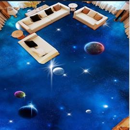 Blue Simple Style Planets in Galaxy Print Waterproof Splicing 3D Floor Murals