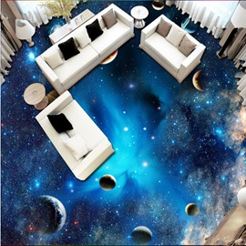 Blue Gorgeous Galaxy Print Home Decorative Waterproof Splicing 3D Floor Murals