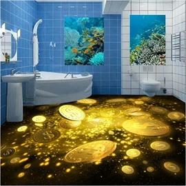 Sparkling Amusing Design Golden Coins Print Waterproof Splicing Decorative 3D Floor Murals
