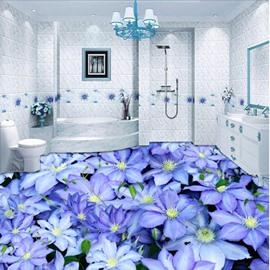 Purple Fresh Little Flowers Print Waterproof Splicing Home Decorative 3D Floor Murals