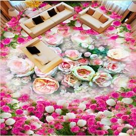 Warm Modern Design Flower Print Waterproof Splicing Decorative 3D Floor Murals