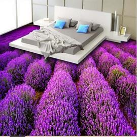 Gorgeous Purple Lavender Field Print Waterproof Splicing 3D Floor Murals