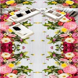 Amazing Modern Design Flowers Pattern Home Decorative Waterproof 3D Floor Murals