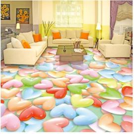 Colorful Heart Shaped Candies Pattern Waterproof Splicing 3D Floor Murals