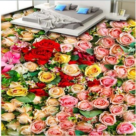 Vivid Modern Design Roses Pattern Home Decorative Nonslip and Waterproof 3D Floor Murals