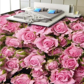 Splendid Pink Roses Pattern Home Decorative Nonslip and Waterproof 3D Floor Murals