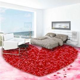 Delicate Red Heart Shape Print Design Nonslip and Waterproof 3D Floor Murals
