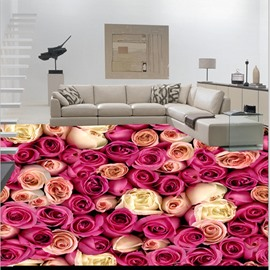 Awesome Champagne Roses Pattern Nonslip and Waterproof 3D Floor Murals