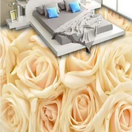 Warm Champagne Roses Pattern Home Decorative Nonslip 3D Floor Murals