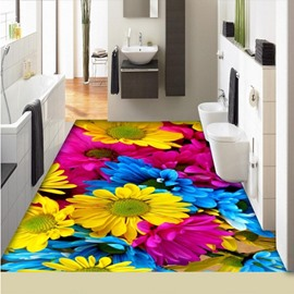 Unique Design Colorful Sunflowers Print Nonslip Splicing 3D Floor Murals