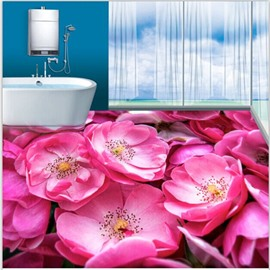 Stunning Pink Flowers Pattern Nonslip and Waterproof 3D Floor Murals