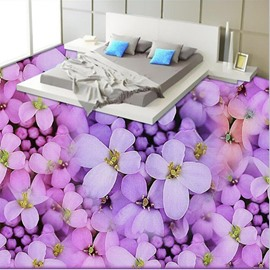 Natural Fresh Purple Flower Print Nonslip and Waterproof 3D Floor Murals