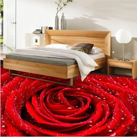 Fresh Red Rose with Water Drops Pattern Waterproof Decorative 3D Floor Murals
