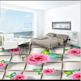 Realistic Beautiful Pink Peony Pattern Waterproof Splicing 3D Floor Murals