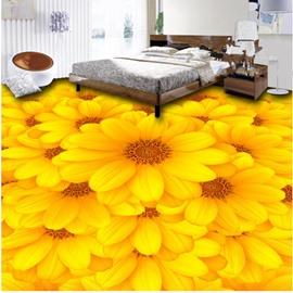 Yellow Sunflowers Pattern PVC Nonslip and Waterproof 3D Floor Murals