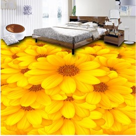 Yellow Sunflowers Pattern PVC Nonslip and Waterproof 3D Floor Murals