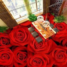 Red Romantic Roses Pattern Waterproof Splicing Decorative 3D Floor Murals