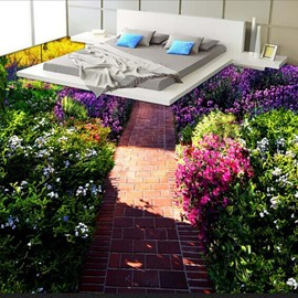 Natural Country Style Flowers and Path Print Nonslip and Waterproof 3D Floor Murals