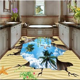 Special Design Flying Sea Gulls in the Broken Hole Sky Pattern 3D Floor Murals