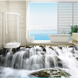 Realistic Waterfalls Print Nonslip and Waterproof Bathroom Decoration 3D Floor Murals