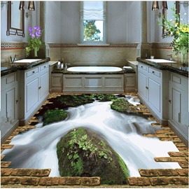 Natural Stream Pattern Nonslip and Waterproof Home Decorative 3D Floor Murals