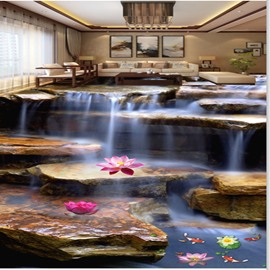 Natural Stream and Lotus Pattern Nonslip and Waterproof Splicing 3D Floor Murals