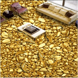 Golden Fishes and Pebbles Pattern Nonslip and Waterproof 3D Floor Murals